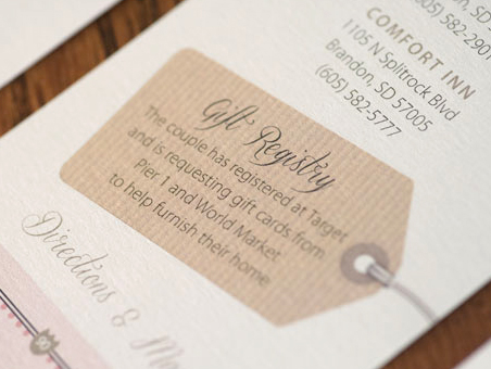 Wedding Invitation Etiquette Gifts Money : ... include a wedding registry on your wedding invitation? Hitch Studio