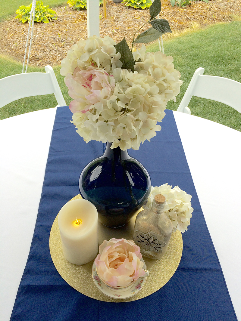 navy and blush pink outdoor movie themed bridal shower