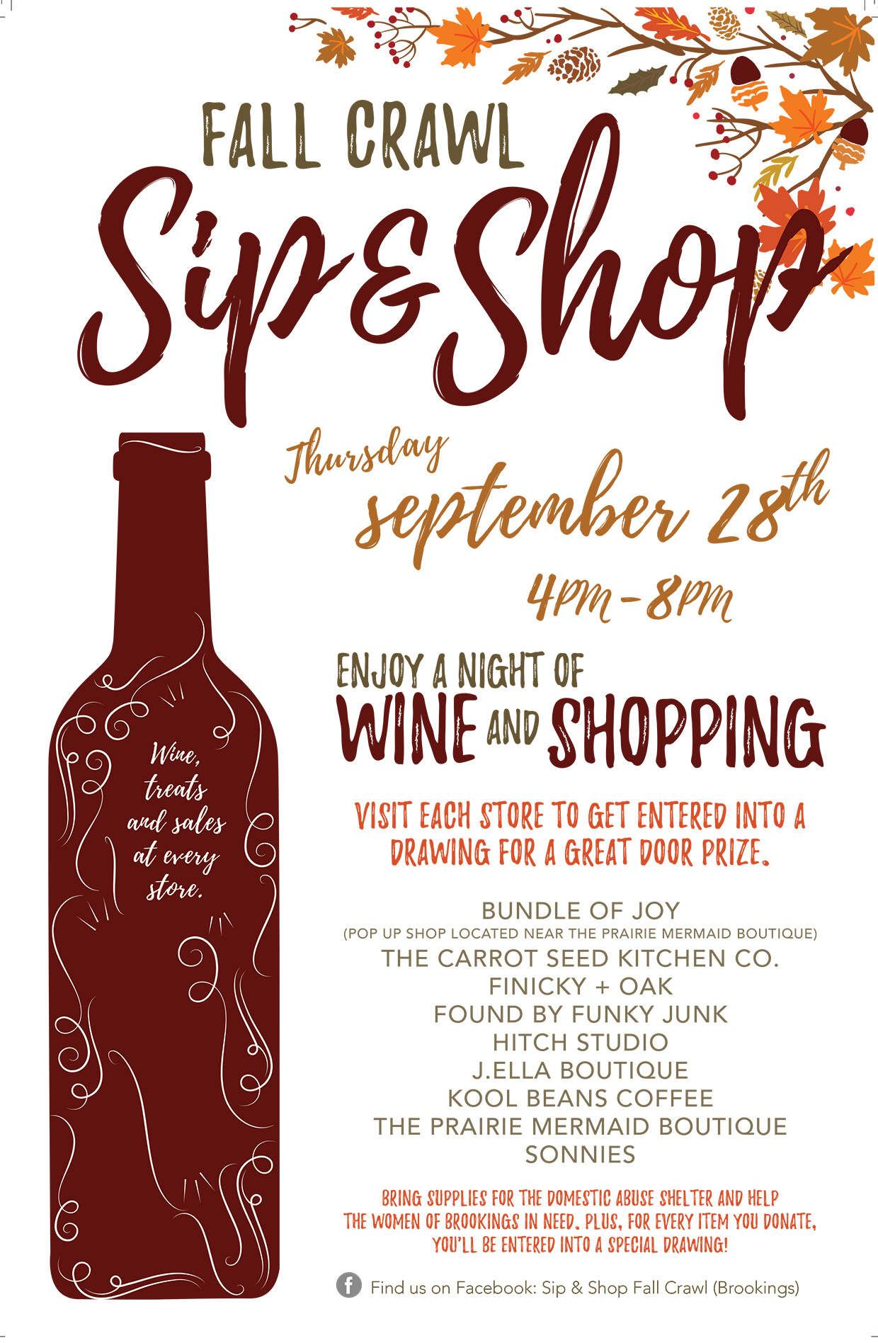 Downtown Brookings Shopping Event: Sip & Shop Fall Crawl on ...
