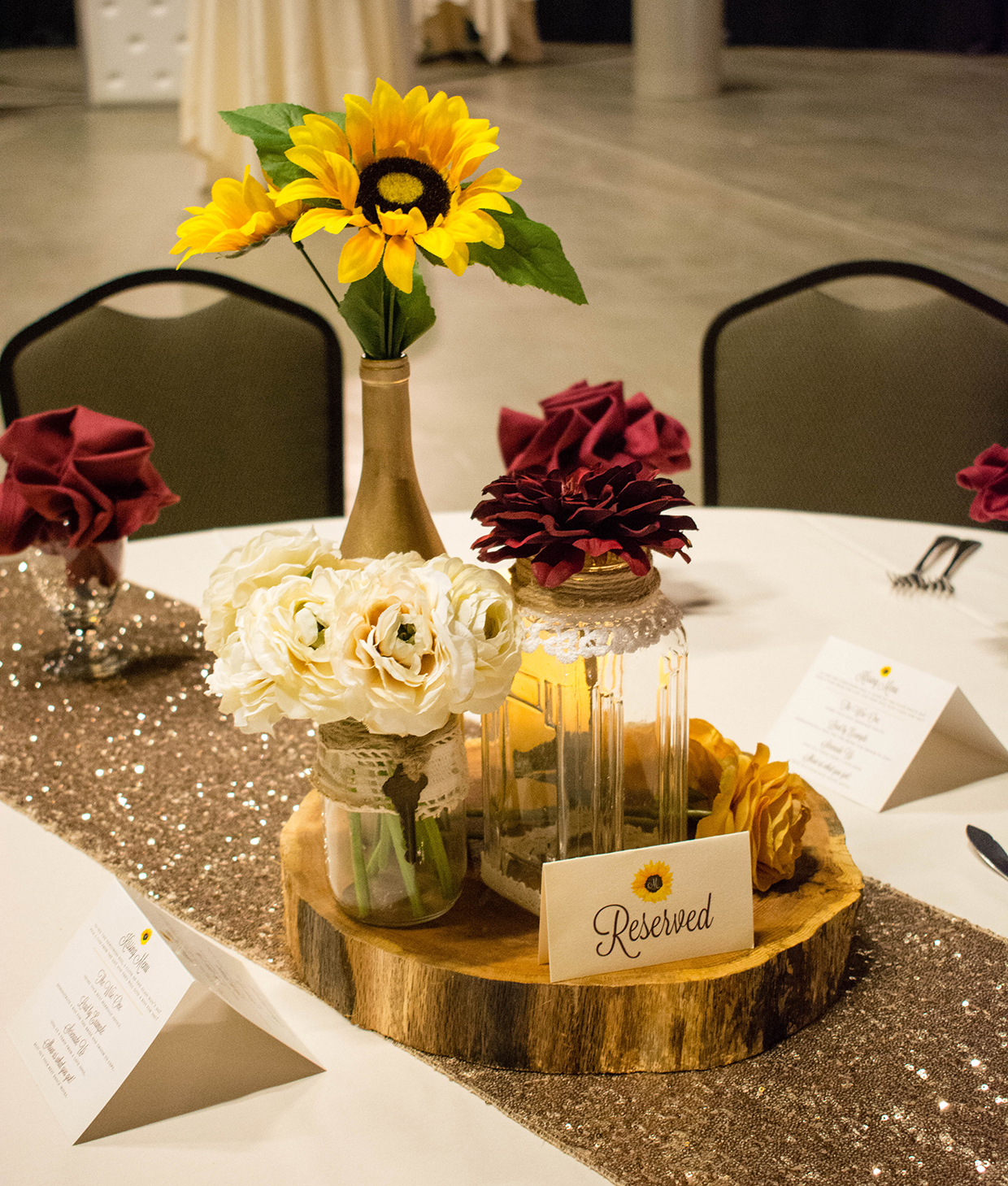 Outdoor Wedding Full Of Sunflowers Burgundy And Perfect