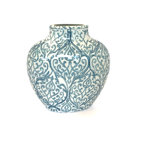 WeddingDecor-Dusty-Blue-Pattern-Vase